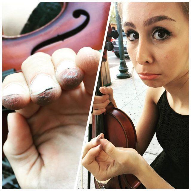 Working Girl  streetmusician violinist occupationalhazard blisters mountdora mountdorafl annikavalentinehellip